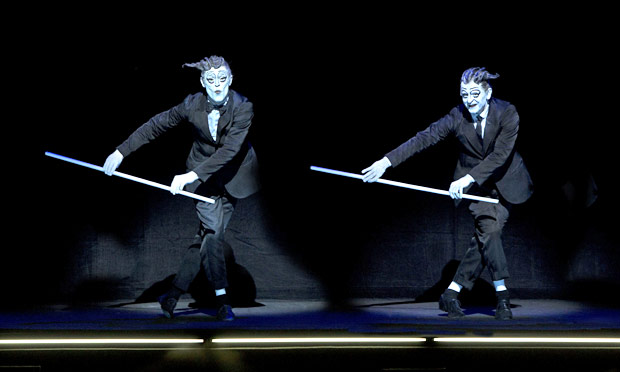 Willem Dafoe and Mikhail Baryshnikov in Robert Wilson's <I>The Old Woman</I>.<br />© Lucie Jansch. (Click image for larger version)