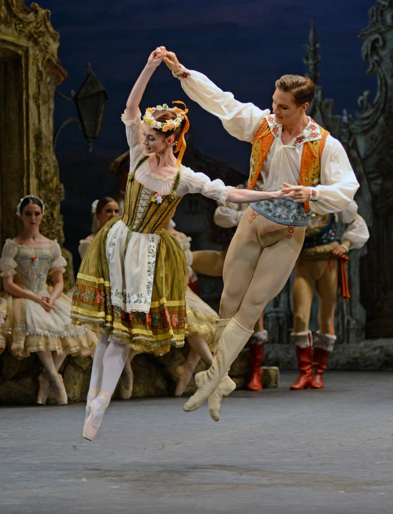 Alison McWhinney and Max Westwell in <I>Coppelia</I>.<br />© Dave Morgan. (Click image for larger version)