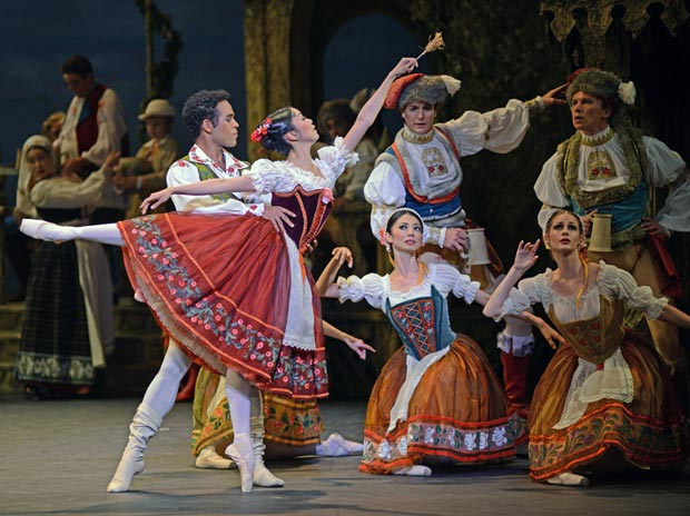 Yonah Acosta and Shiori Kase in <I>Coppelia</I>.<br />© Dave Morgan. (Click image for larger version)
