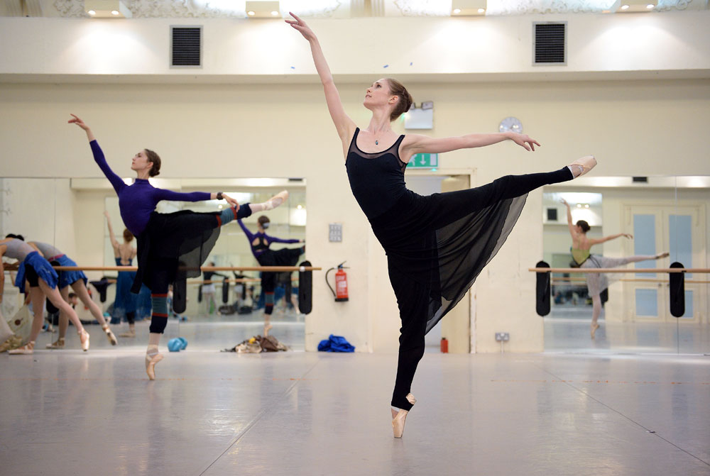 Alison McWhinney in foreground and Jeanette Kakareka rehearsing <I>Coppelia</I>.<br />© Laurent Liotardo, courtesy ENB. (Click image for larger version)