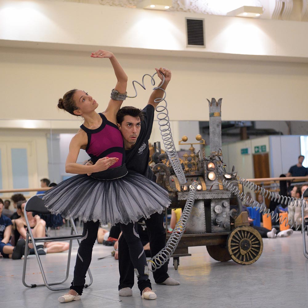 Fernanda Oliveira and Daniel Kraus rehearsing Coppelia.© Laurent Liotardo, courtesy ENB. (Click image for larger version)