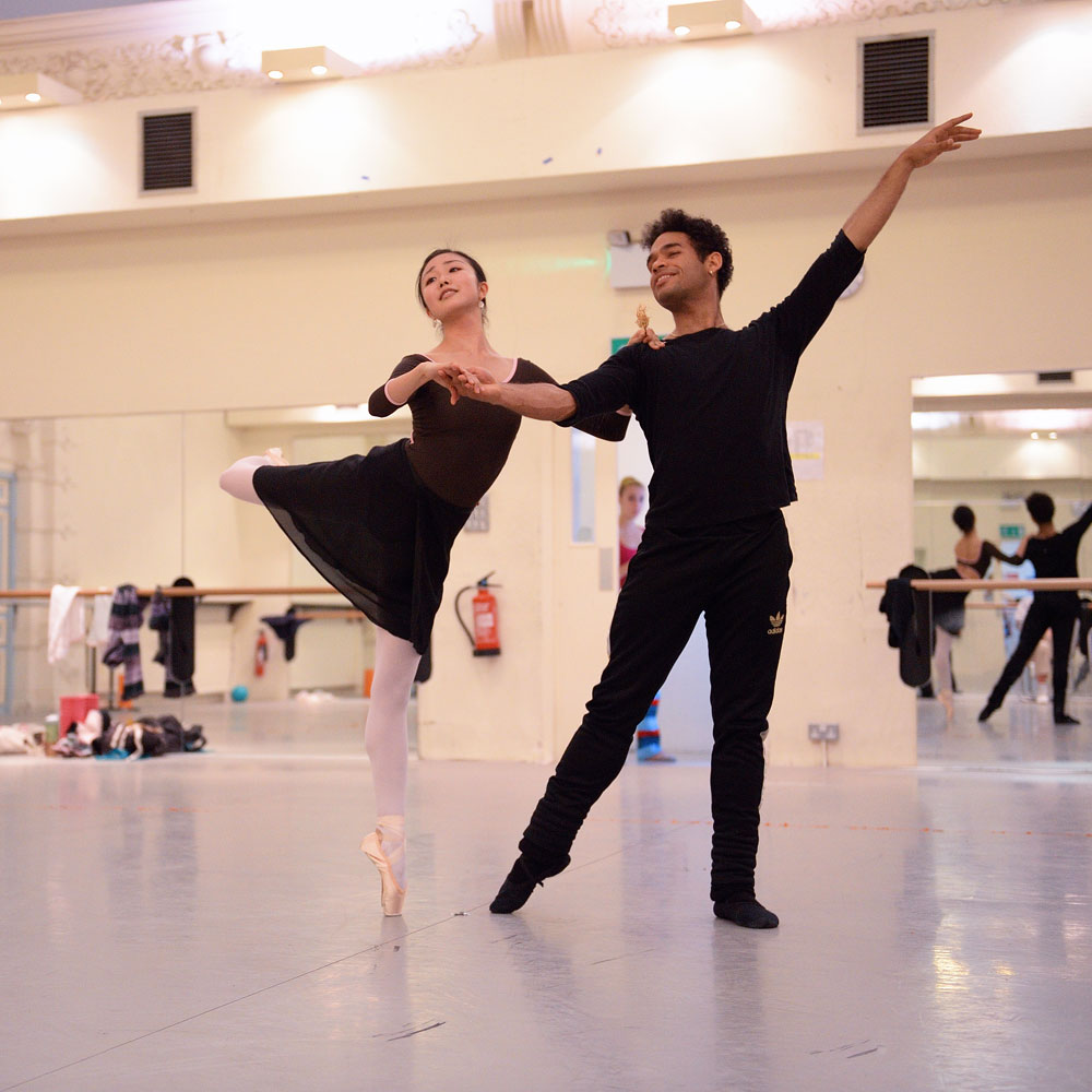 Shiori Kase and Yonah Acosta rehearsing <I>Coppelia</I>.<br />© Laurent Liotardo, courtesy ENB. (Click image for larger version)