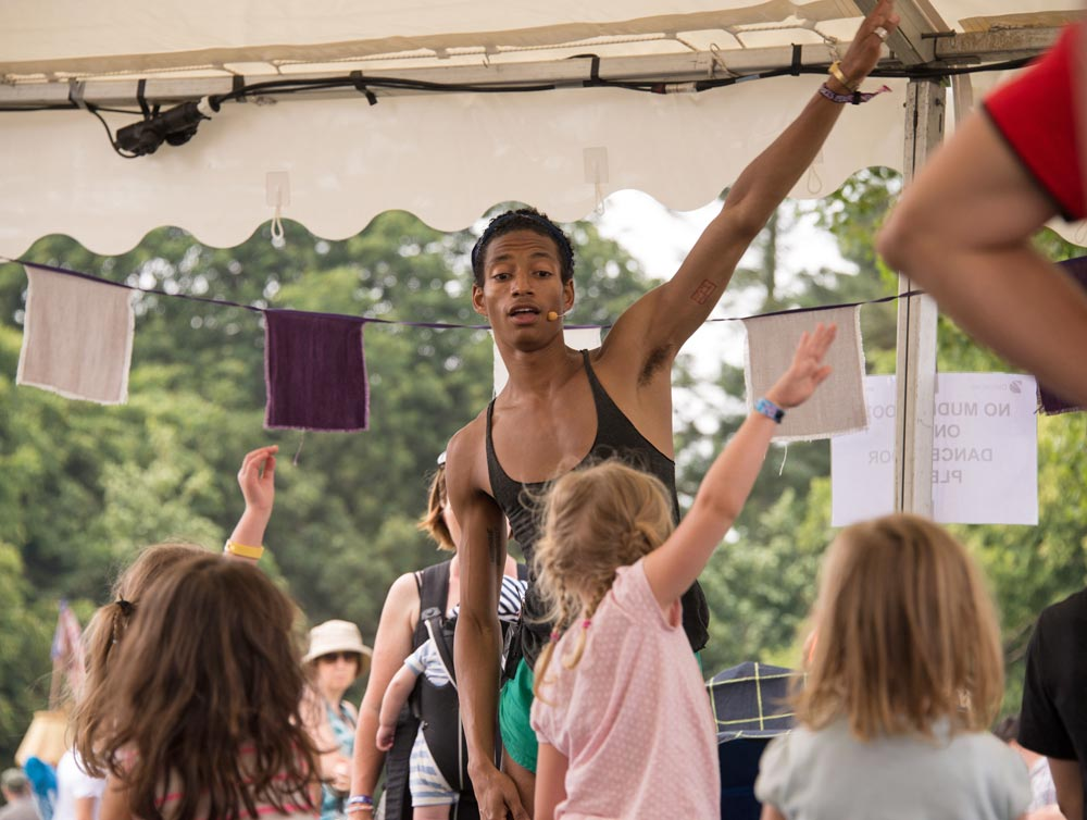 Random Dance workshop in the DanceEast tent.© Lise Smith. (Click image for larger version)