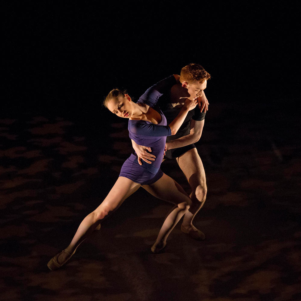 Ballet Central – <I>Continuum</I>, choreography Andrew McNicol (Central alumnus) performed by Central students Emma Walker and Duncan Anderson.<br />© Martin Bell. (Click image for larger version)