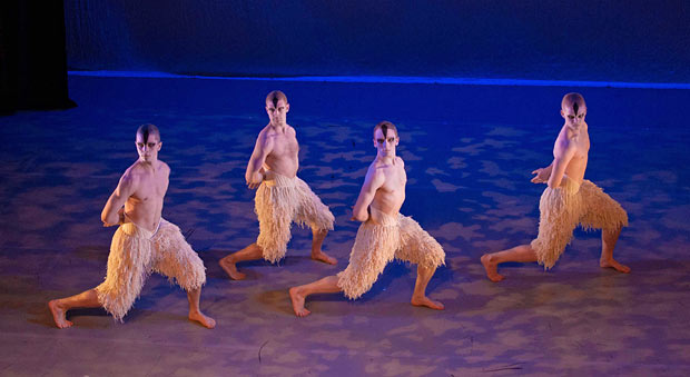 Matthew Bourne's New Adventures: The Cygnets Dance from Matthew Bourne's <I>Swan Lake</I>, choreography Matthew Bourne OBE, performed by Reece Causton (Central graduate), Robin Gladwin (Central graduate), Tom Broderick (Central graduate), and Duncan Anderson (current Central student).<br />© Martin Bell. (Click image for larger version)