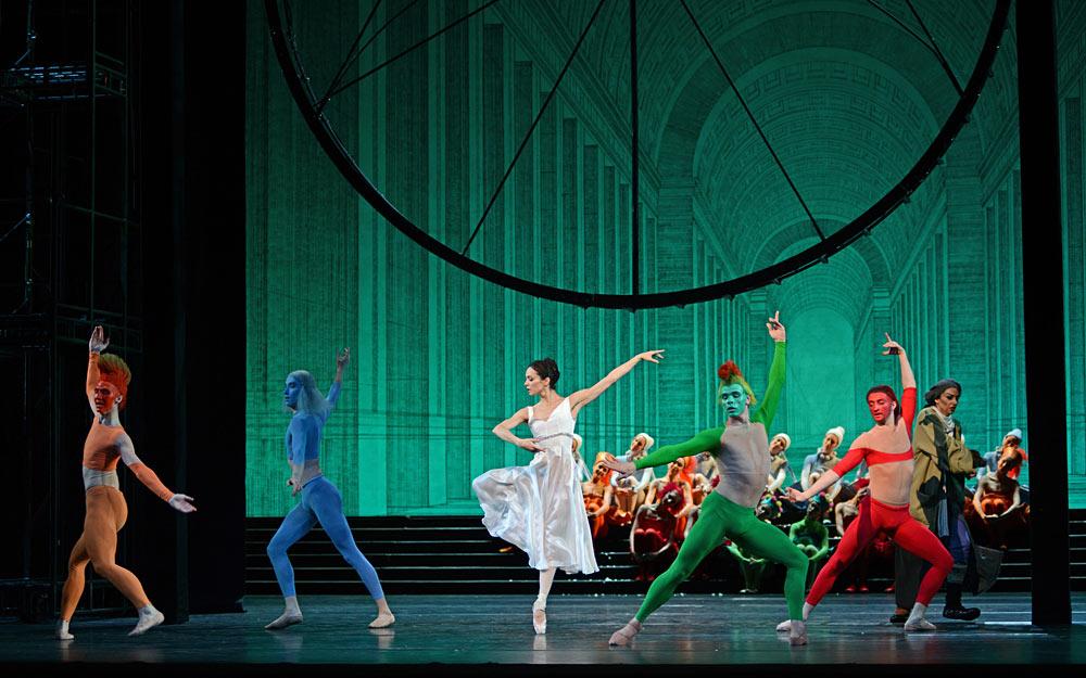 Diana Vishneva and the 4 seasons in Cinderella.© Dave Morgan. (Click image for larger version)