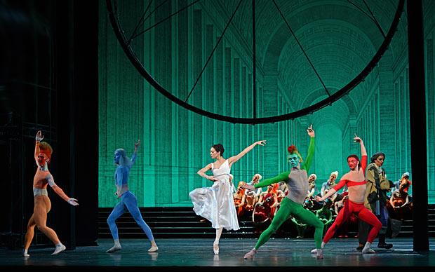 Diana Vishneva and the 4 seasons in <I>Cinderella</I>.<br />© Dave Morgan. (Click image for larger version)