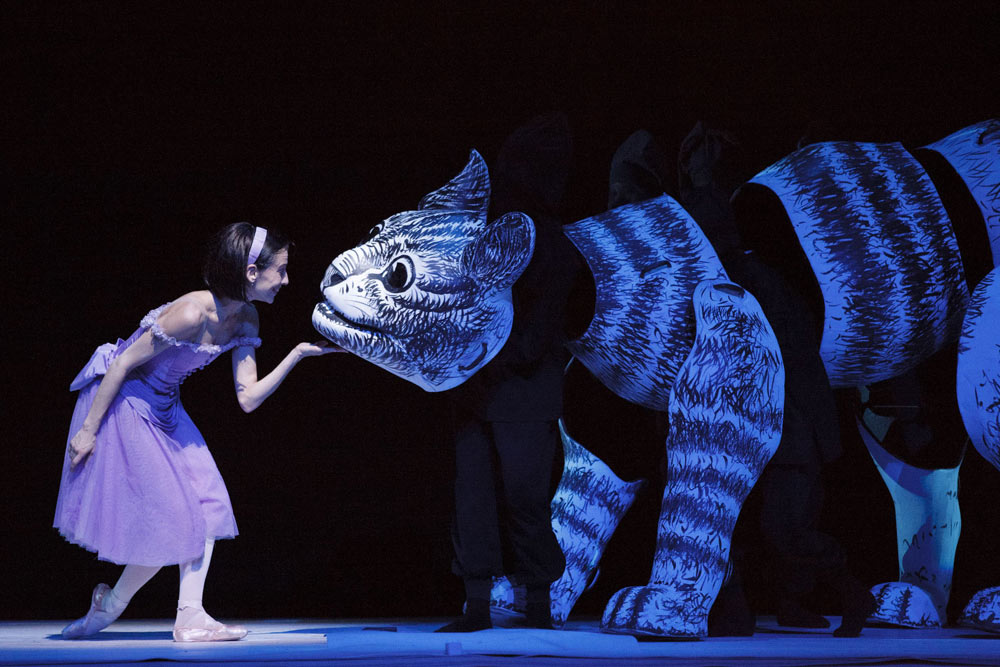 Sonia Rodriguez as Alice and the Cheshire Cat in <I>Alice's Adventures in Wonderland</I>.<br />© Bruce Zinger. (Click image for larger version)
