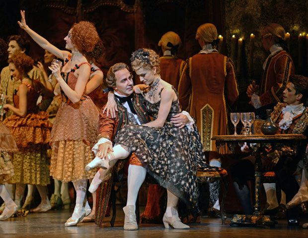 Christopher Saunders (Monsieur GM) and Marianela Nunez in <I>Manon</I>.<br />© Dave Morgan, courtesy the Royal Opera House. (Click image for larger version)
