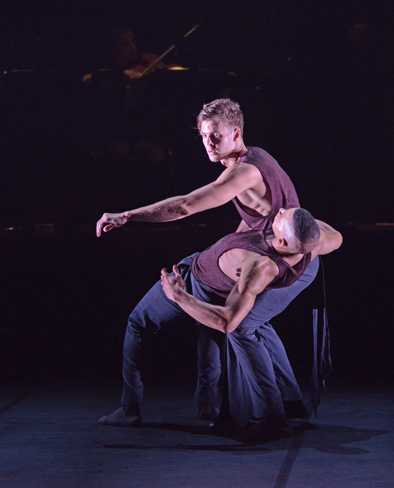 Matthew Sandiford and Adam Kirkham in McNally's <I>MeTheus</I>.<br />© Dave Morgan. (Click image for larger version)