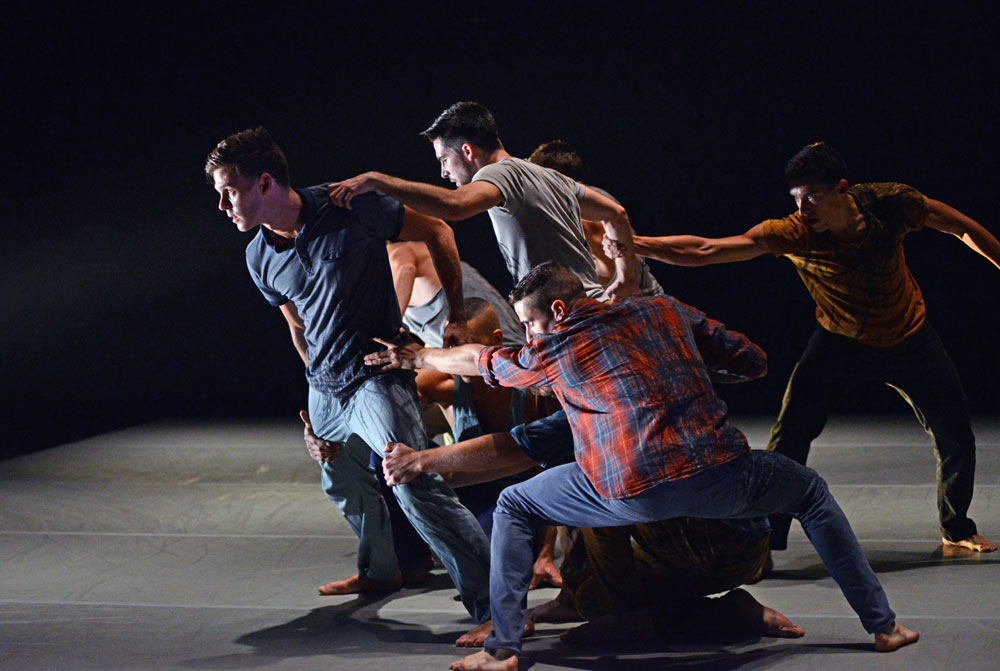 BalletBoyz led by Adam Kirkham in Whitley's The Murmuring.© Dave Morgan. (Click image for larger version)