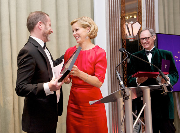 Kevin O'Hare (Director The Royal Ballet) receives the QEII Award from Darcey Bussell (President Royal Academy of Dance) and Luke Rittner (CEO of the Royal Academy of Dance).<br />© Elliott Franks, Royal Academy of Dance . (Click image for larger version)