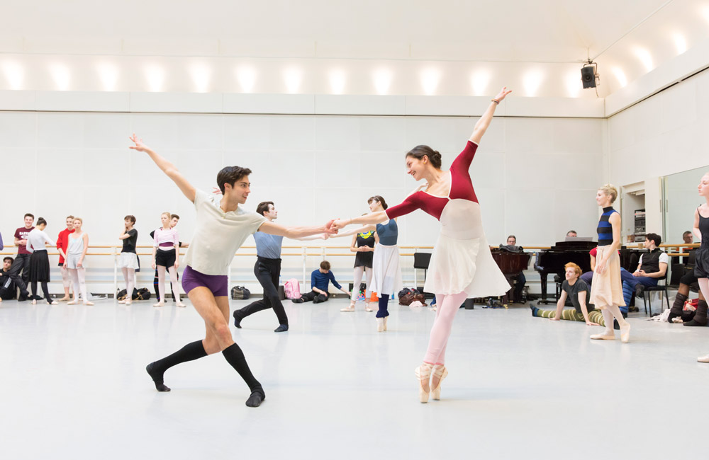 Royal Ballet Soloist James Hay and Royal Ballet First Artist Romany Pajdak in rehearsal.<br />© ROH / Johan Persson, 2014. (Click image for larger version)