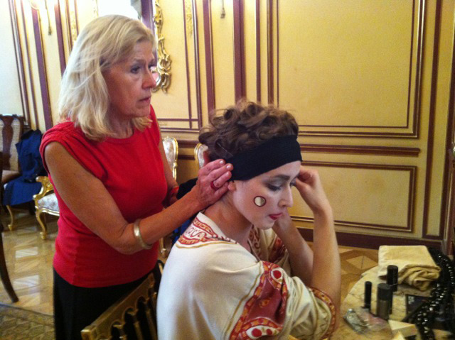 Millicent Hodson helping Joanna Drabik with her makeup for a short excerpt from The Rite of Spring at the Polish Embassy launch event on 24th September 2014.© Chris Jones. (Click image for larger version)