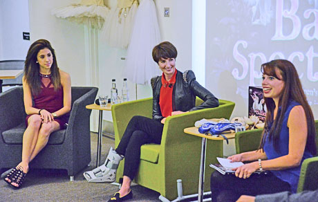 Yasmine Naghdi and Lauren Cuthbertson with host Bonnie Jerrard at the Waterstones Ballet Spectacular launch.© Dave Morgan. (Click image for larger version)