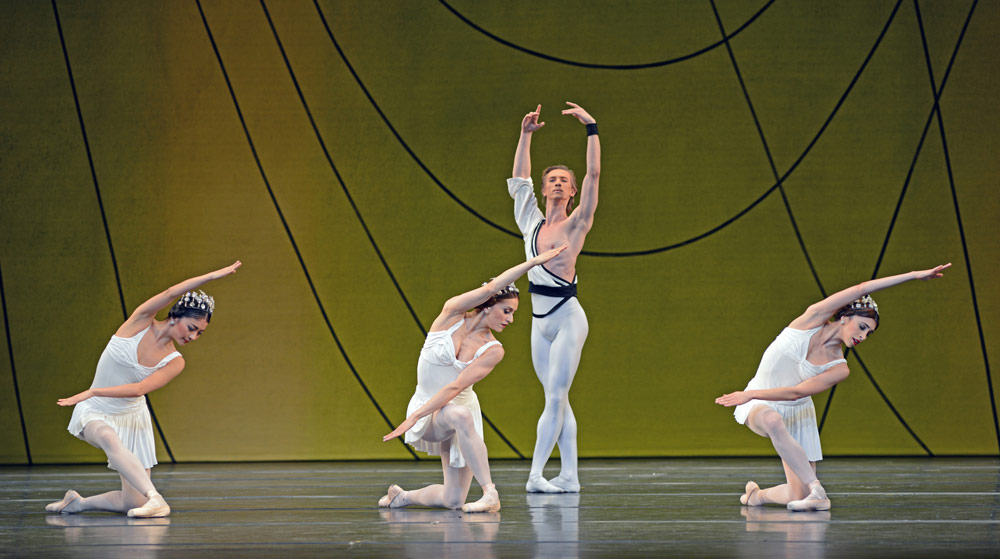 Yuhui Choe, Marianela Nunez, Vadim Muntagirov and Yasmine Naghdi in Symphonic Variations.© Dave Morgan, courtesy the Royal Opera House. (Click image for larger version)