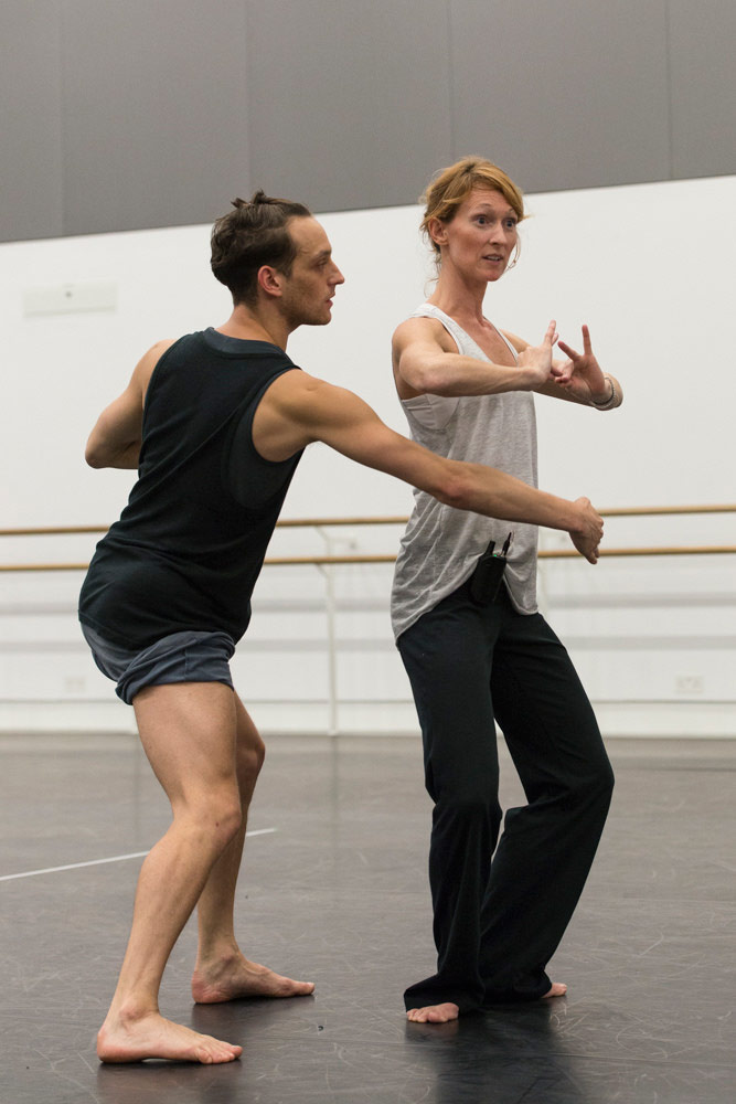 Rambert in the studio - Luke Ahmet with rehearsal director Angela Towler.<br />© Foteini Christofilopoulou. (Click image for larger version)