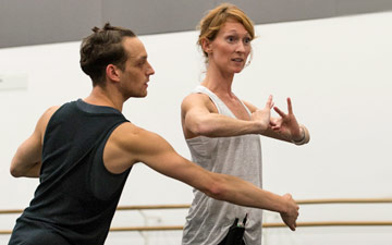 Rambert in the studio - Luke Ahmet with rehearsal director Angela Towler.© Foteini Christofilopoulou. (Click image for larger version)