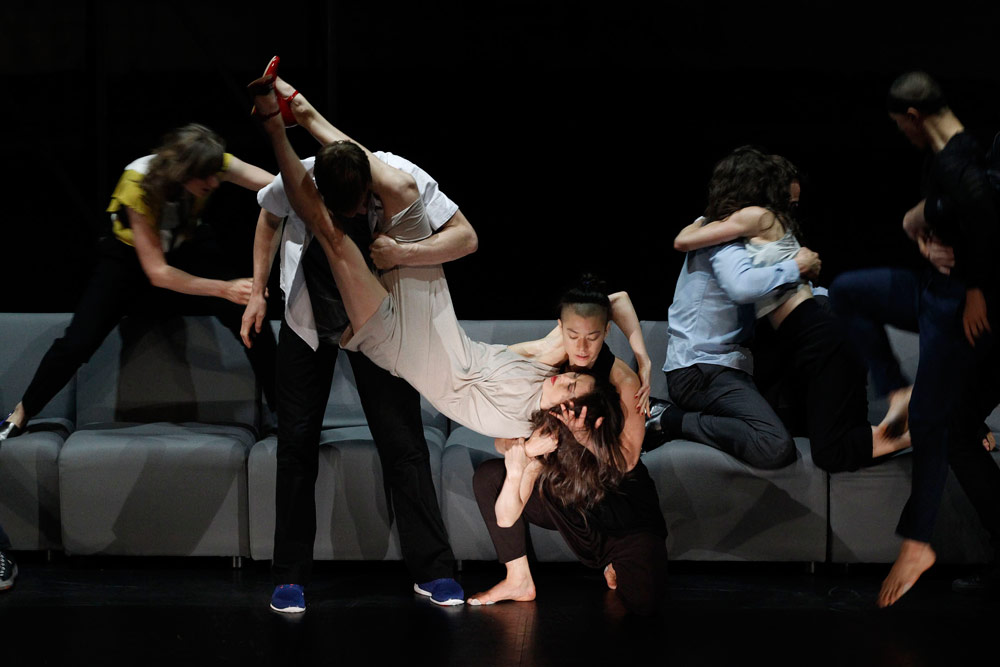 Chunky Move and Melbourne Theatre Company in <I>Complexity of Belonging</I>.<br />© Jeff Busby. (Click image for larger version)