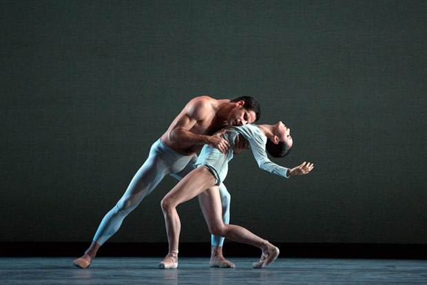 Hee Seo and Marcelo Gomes in Liam Scarlett's <I>With a Chance of Rain</I>.<br />© Marty Sohl. (Click image for larger version)