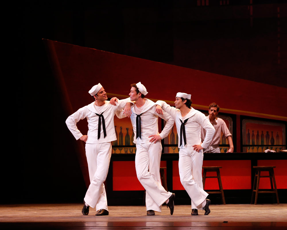 Marcelo Gomes, Cory Stearns and Herman Cornejo in Jerome Robbins' <I>Fancy Free</I>.<br />© Marty Sohl. (Click image for larger version)