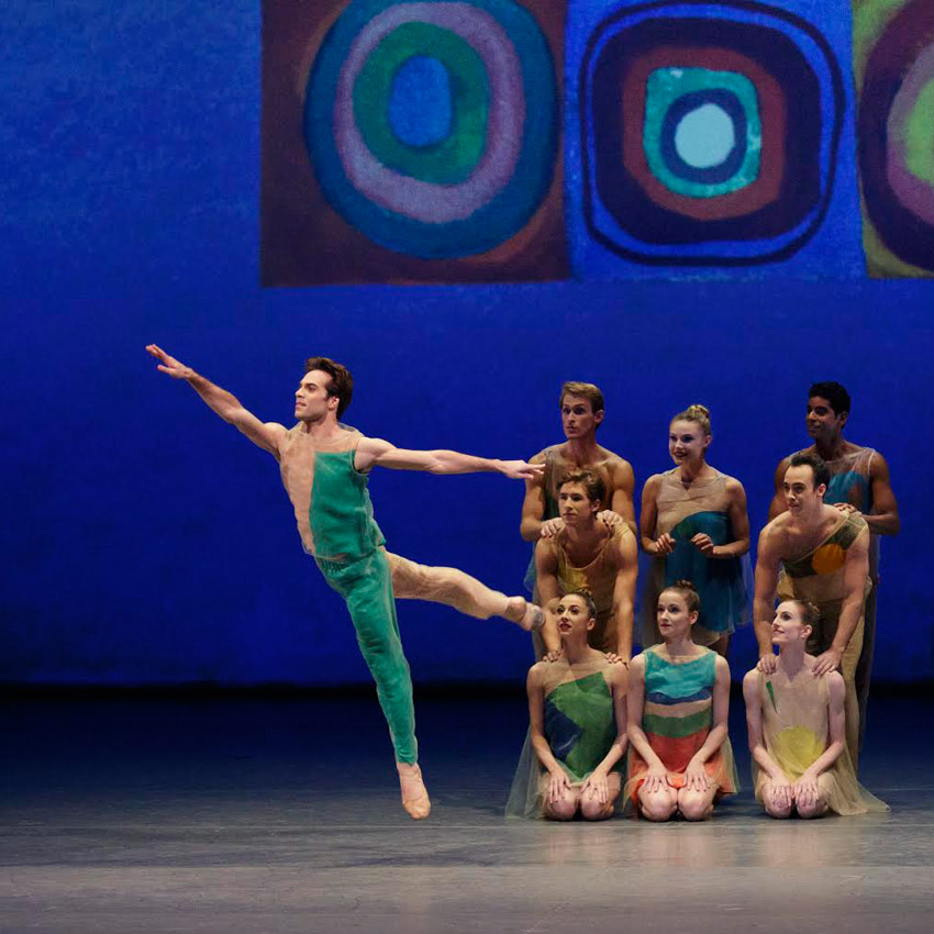 Gonzalo Garcia and NYCB, opening section of Ratmansky's <I>Pictures at an Exhibition</I>.<br />© Paul Kolnik. (Click image for larger version