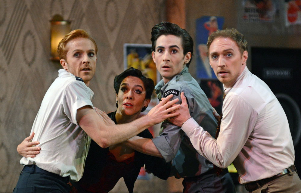 Steven McRae, Laura Morera, Tristan Dyer and Bennet Gartside in Liam Scarlett's The Age of Anxiety.© Dave Morgan, courtesy the Royal Opera House. (Click image for larger version)