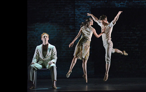 Edward Watson, Beatriz Stix-Brunell and Alexander Campbell in Kim Brandstrup's Ceremony of Innocence.© Dave Morgan, courtesy the Royal Opera House. (Click image for larger version)