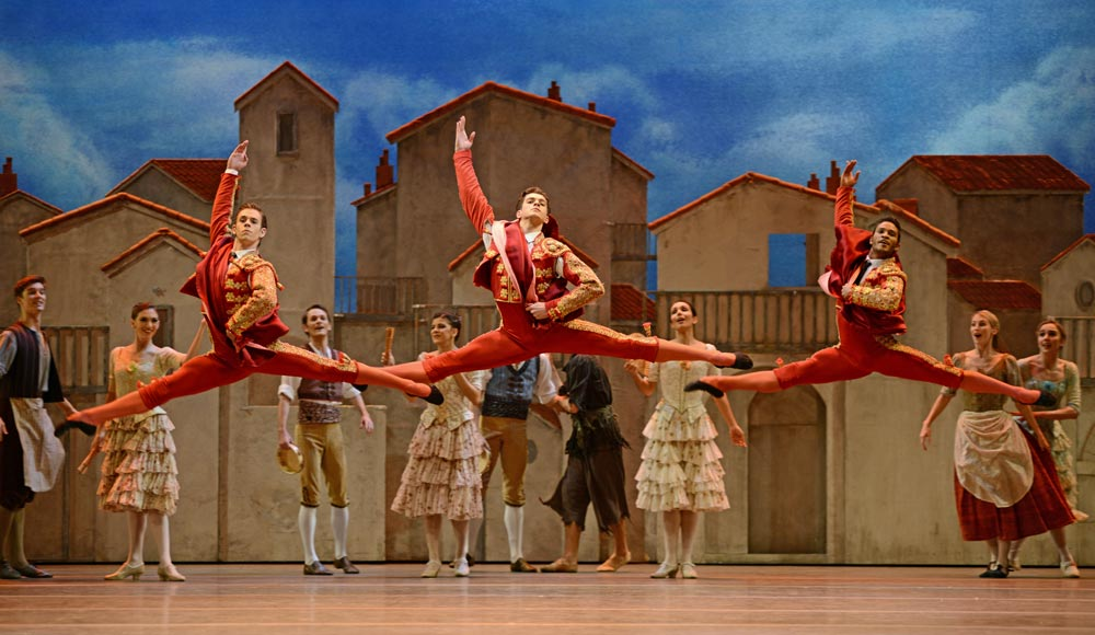 Tomas Mock, Reece Clarke and Fernando Montano in <I>Don Quixote</I>.<br />© Dave Morgan, courtesy the Royal Opera House. (Click image for larger version)