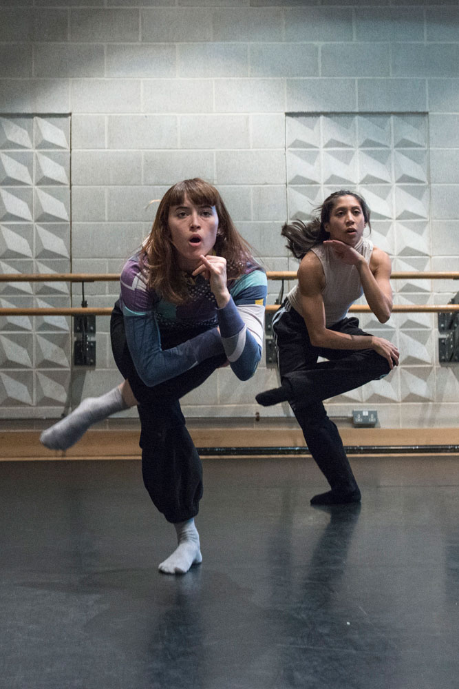 Alejandra Baño and Estela Merlos in the studio rehearsing Provisional Landscapes© Foteini Christofilopoulou. (Click image for larger version)