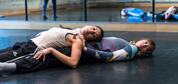 Estela Merlos and Alejandra Baño in the studio rehearsing <I>Provisional Landscapes</I><br />© Foteini Christofilopoulou. (Click image for larger version)
