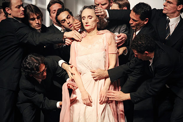 Nazareth Panadero in Pina Bausch's <I>Kontakthof</I>.<br />© Julieta Cevantes. (Click image for larger version)