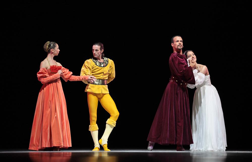 Eric Vu-An, Celine Marcinno, César Rubio Sancho and Verónica Colombo, of Ballet de l'Opéra de Nice in The Moor's Pavane. © Nancy Reyes. (click image for larger version)