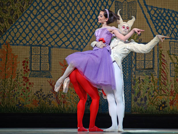 Sarah Lamb and Ricardo Cervera in <I>Alice's Adventures in Wonderland</I>.<br />© Dave Morgan, courtesy the Royal Opera House. (Click image for larger version)