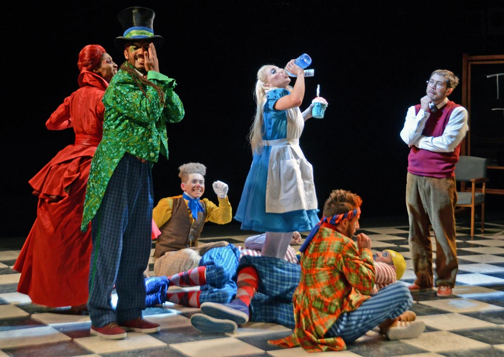 Turbo, Lizzie Gough and Tommy Franzen in The Mad Hatter's Tea Party.© Dave Morgan, courtesy the Royal Opera House. (Click image for larger version)