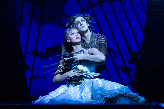 Ashley Shaw and Dominic North in <I>Edward Scissorhands</I>.<br />© Foteini Christofilopoulou. (Click image for larger version)