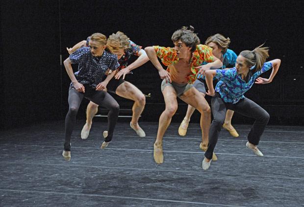 Marcelino Sambe's <I>Dez Days</I> (in front: Anna Rose O'Sullivan, Luca Acri, Maria Barroso).<br />© Dave Morgan, courtesy the Royal Opera House. (Click image for larger version)