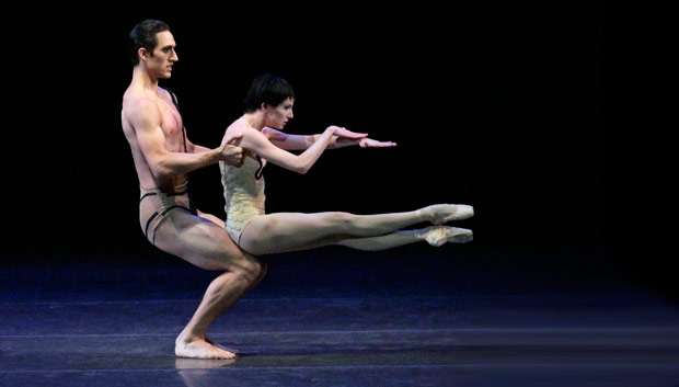 Justin Peck and Sterling Hyltin in <I>The Cage</I>.<br />© Paul Kolnik. (Click image for larger version)