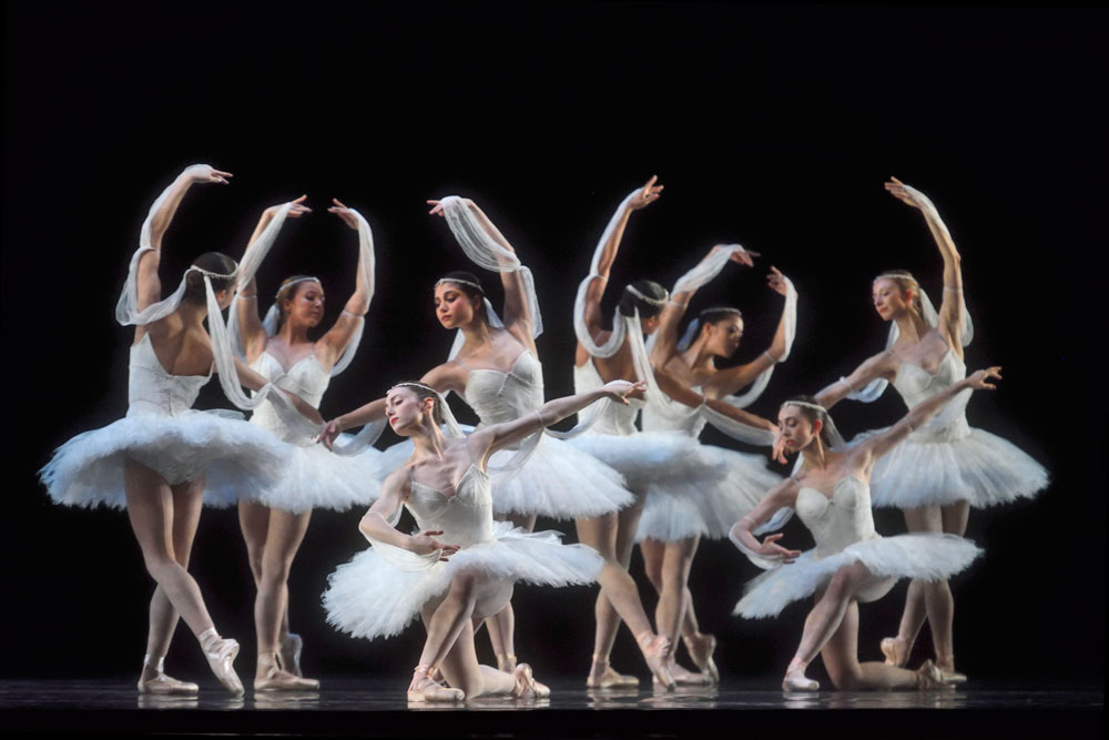 """San Francisco Ballet in """"The Kingdom Of The Shades"""" from Makarova's <I>La Bayadère</I>, Act III.<br />© Erik Tomasson. (Click image for larger version)"""