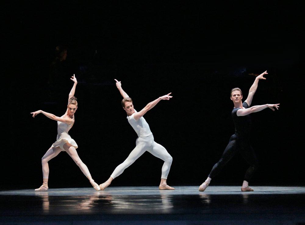 Lauren Lovette, Gonzalo Garcia and Daniel Ulbricht in Peter Martins' <I>Hallelujah Junction</I>.<br />© Paul Kolnik. (Click image for larger version)