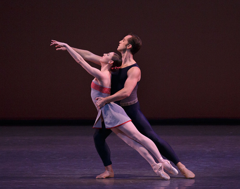Tiler Peck and Jared Angle in Christopher Wheeldon's <I>Mercurial Manoeuvres</I>.<br />© Paul Kolnik. (Click image for larger version)