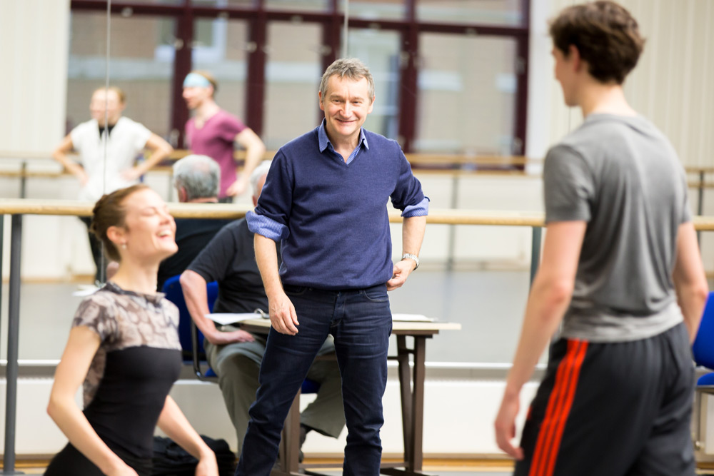 David Bintley in rehearsal with Delia Mathews and William Bracewell.© Andrew Ross. (Click image for larger version)