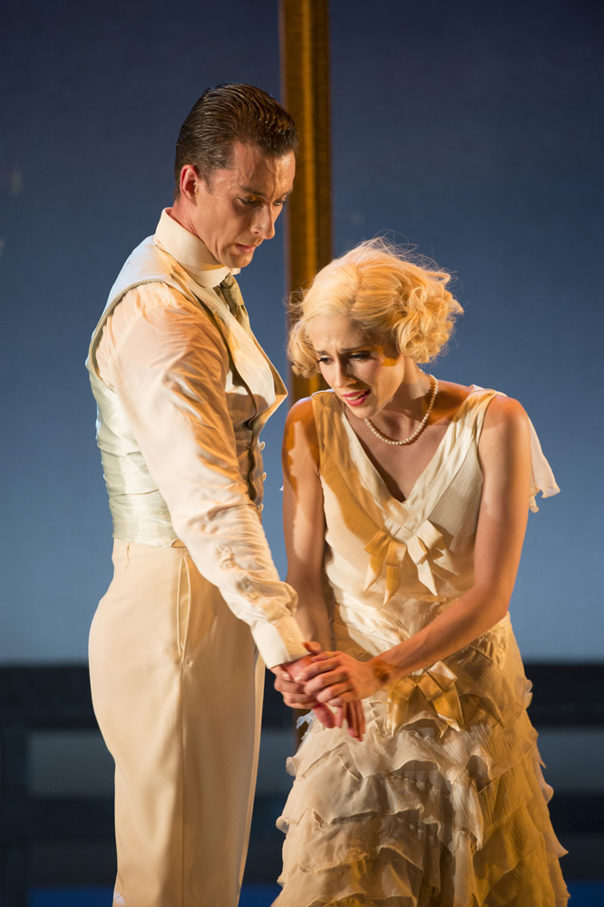 Tobias Batley as Gatsby and Martha Leebolt as Daisy in <i>The Great Gatsby</i>.<br />© Bill Cooper. (Click image for larger version)