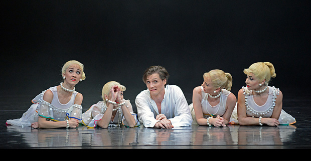 Jaimie Bond and Elisha Willis with Maureya Libowitz, Angela Paul and Laura Purkiss in <I>Carmina burana</I>.<br />© Dave Morgan. (Click image for larger version)