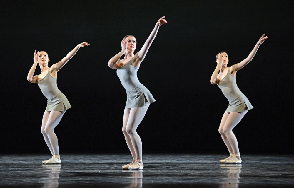 Gemma Pitchley Gale, Claire Calvert and Yasmine Naghdi in Song of the Earth.© Dave Morgan, courtesy the Royal Opera House. (Click image for larger version)