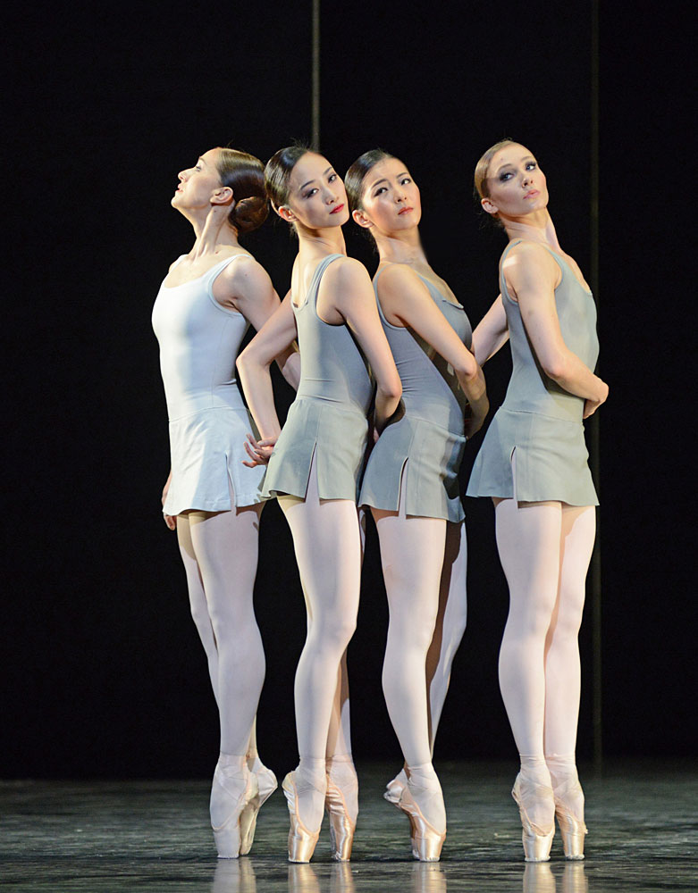 Marianela Nunez, Fumi Kaneko, Yuhui Choe and Melissa Hamilton in Song of the Earth.© Dave Morgan, courtesy the Royal Opera House. (Click image for larger version)