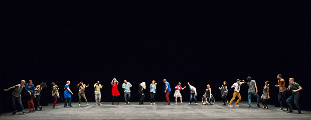 Candoco Dance Company in Jerome Bel's <I>The Show Must Go On</I>.<br />© Foteini Christofilopoulou. (Click image for larger version)