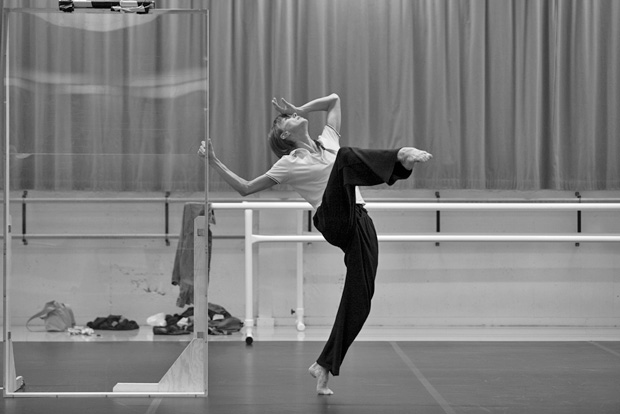 Sylvie Guillem in the studio rehearsing Mats Ek's <I>Bye</I>.<br />© Lesley Leslie-Spinks. (Click image for larger version)
