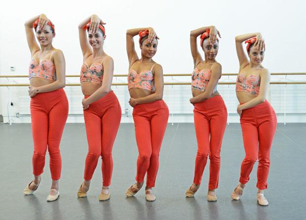 Alexandra Cameron-Martin, Chantelle Gotobed, Arianna Mariachi, Chloe Lopez Gomez and Emma Lucibello in Kristen McNally's <I>Mad Women</I>.<br />© Dave Morgan. (Click image for larger version)