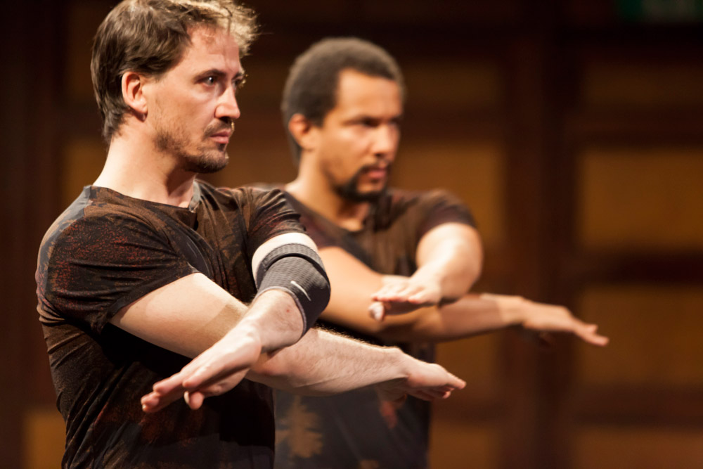 Marc Iglesias and Gilles Fumba in Ayelen Parolin's Hérétiques (Heretics).© Charlotte Sampermans. (Click image for larger version)
